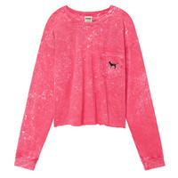 Campus Cropped Long Sleeve Tee - PINK - Victoria's Secret