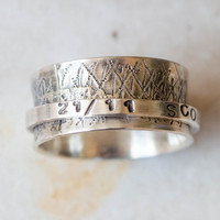 Spinner ring, Personalized spinner ring, Mens ring, Wide band sterling silver ring, Thumb ring, Pesronalized- Quote- Date ring, Unique made