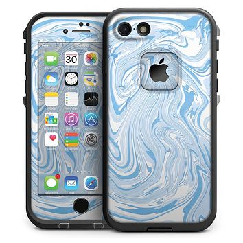 Marbleized Swirling Blues - iPhone 7 LifeProof Fre Case Skin Kit