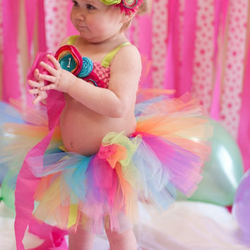 The Rainbow Tutu & Headband- Pink, Aqua, Orange, Lime, Turquoise, Purple, Yellow, Birthday, 1st birthday, Girl, Newborn, Infant, cake smash