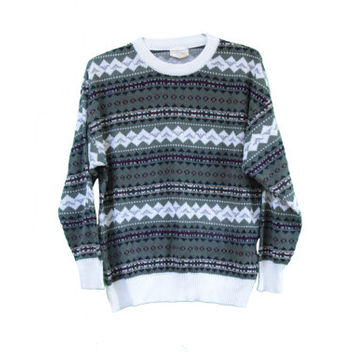 Classic Horizontal Print Geometric Tribal Tumblr Sweater - Comfy Oversize Sweater - Size Large