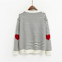 Heart Print Pullover Sweater Top, Comfortable Loose Striped Knitwear.