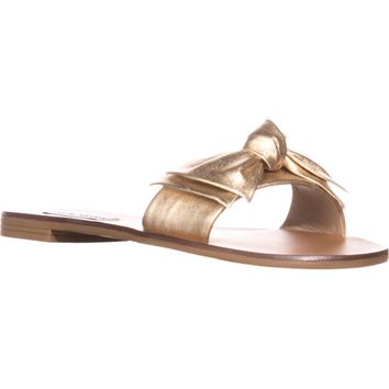 Steve Madden Knotss Flat Slide Sandals, Gold, 8 US