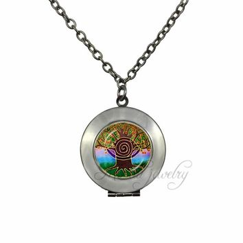 Black Gun Plated Spiritual Metaphysical Jewelry Third Eye Choker Necklace Meditation Mandala Locket Pendant Life Tree Jewelry