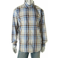 Tasso Elba Mens Plaid Long Sleeves Dress Shirt