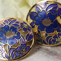 Vintage 1970 Cloisonné flower earrings, round with blue and purple floral design, gold-tone accents, estate jewelry, Mother's Day Gift