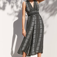 Ecote Plunging Striped Culotte Jumpsuit | Urban Outfitters