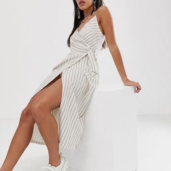 Bershka wrap dress in ecru | ASOS