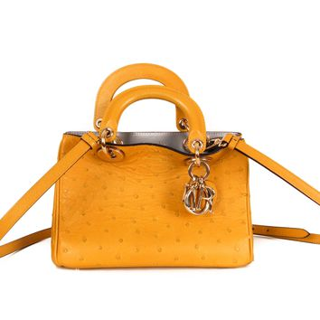 Dior Yellow Ostrich Cross Body Bag