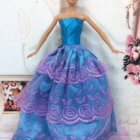 NK One Pcs Princess Wedding Dress Noble Party Gown For Barbie Doll Fashion Design Outfit Best Gift For Girl' Doll 023A