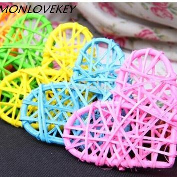 New arrival Colorful 9CM rattan ball decoration with hearted shaped with different rattan wedding decorations Home decorations