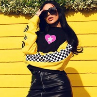 Personality Gothic Letter Heart-shaped Print Stitching Multicolor Long Sleeve Loose Sweater Women Tops