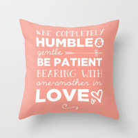 Ephesians 4:2 Bearing one another with Love Throw Pillow by Pocket Fuel