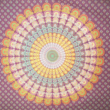 Indian Boheimein Magenta Mandala Full Wall Hanging HippieTapestry Size 92x82 Inches.