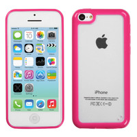 Hybrid Gummy Cover Case for iPhone 5C - Clear/Hot Pink