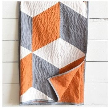 Geo Orange and Gray Kantha Throw