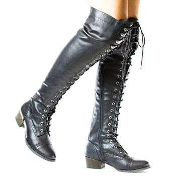 Alabama12 Military Combat Thigh High Corset Lace Up Boots