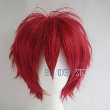 Naruto Sasauke ninja Dark Red cosplay wig short hairpiece  Akasuna no Sasori Cosplay wigs headband halloween cosplay wig  for men AT_81_8