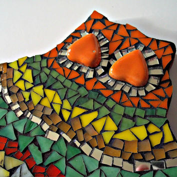 Mosaic Stained Glass Fiesta Owl // Shelf Sitter // Colorful // Yellow, Orange, Green // Stained Glass and Mirror // Owl Mosaic // 7 x 6 inch