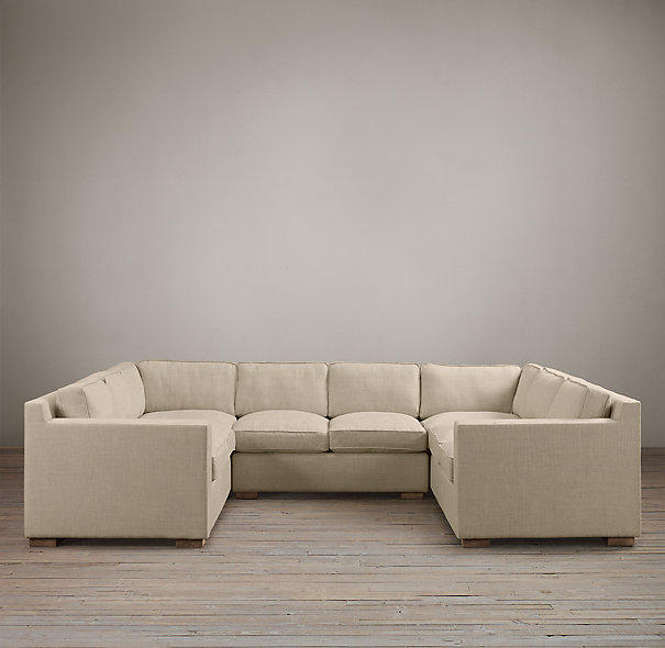 Collins upholstered u sofa sectional from restoration hardware for Small sectional sofa restoration hardware