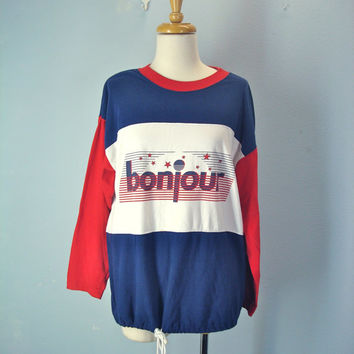 Vintage 80s Slouchy Blouse / Bonjour Top / Color Block Shirt