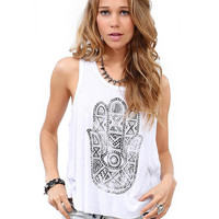 Palm Print Sleeveless Graphic Tank