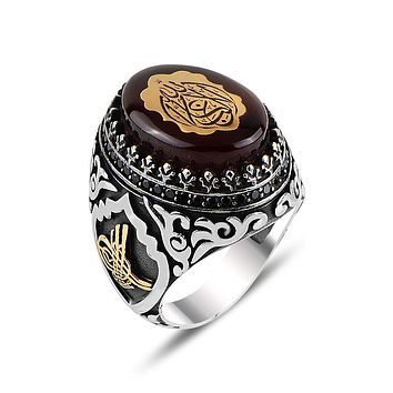 Mens 925 sterling silver ring with amber gemstone and calligraphy