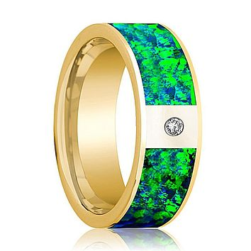 Mens Wedding Band 14K Yellow Gold with Emerald Green and Sapphire Blue Opal Inlay and Diamond Flat Polished Design