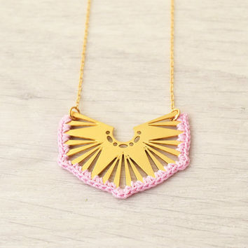 Geometric necklace,  short necklace, pastel pink necklace, gold filled chain, crochet necklace, gift for her, gold necklace, unique necklace