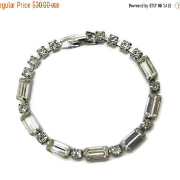 ON SALE Vintage Weiss Rhinestone Silvertone Bracelet, Bridal Jewelry