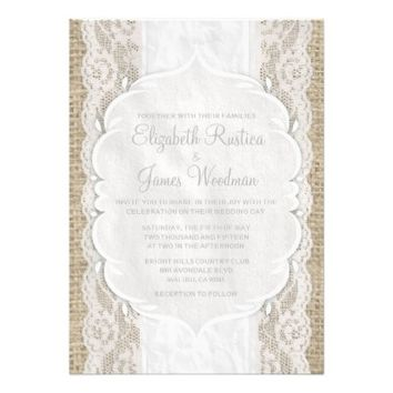 White Vintage Linen Burlap Lace Wedding Invitation