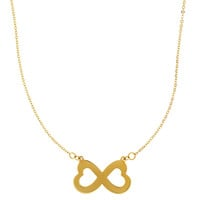 14K Yellow Gold Double Heart Infinity Pendant Sign On 18 Inch Necklace