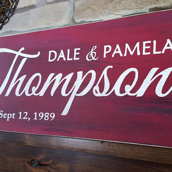 Rustic Personalized Wood Monogram Sign-Family Thompson Style