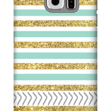 Gold and Tiffany Personalized Galaxy S6 Extra Protective Bumper Case