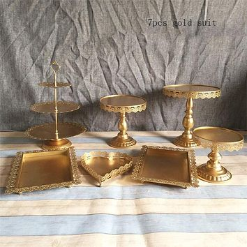 Gold Wedding Dessert Tray Cake Stand Cupcake Pan Party Supply 7PCS / Set white Lace cake decoration plate Cake dish