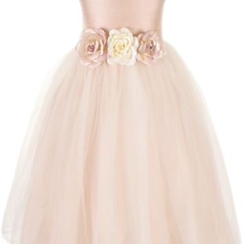 Dusty Rose Faux Silk & Tulle Overlay Satin Occasion Dress with Floral Waist (Girls 2T to Size 12)