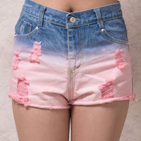 Pink Dip Dye Ripped Raw Hem Denim Shorts