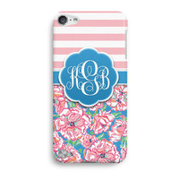 Pink Stripe Floral Customized Monogram Inspired Lilly Pulitzer iPod Touch 5 Case, iTouch 4 Case