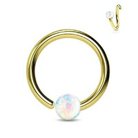 BodyJ4You Nose Ring Hoop Tragus Helix Earring Opal Stone Goldtone Stainless Steel 16G Piercing Jewelry