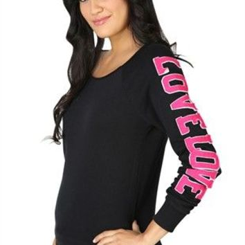 Long Sleeve French Terry Top with Double Love Applique