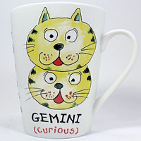 Gemini Cat Coffee Mug Curious Optimist Witty 10oz Cup Astrology Sign k460