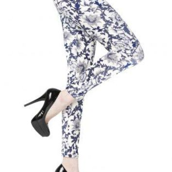 Floral China Pattern Printed Leggings
