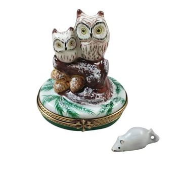 Two Owls w Mouse Rochard Limoges Boxes