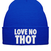 love no thot embroidery hat  - Beanie Cuffed Knit Cap