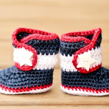 Crochet Baby Booties - 4th of July Baby Shoes - America Patriotic Baby Boots - Red White and Blue Star Baby Girl Baby Boy