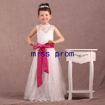 Lace flower girl dress with fuchsia satin sash bow