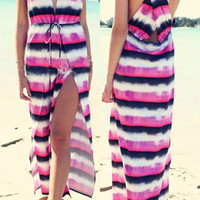 Color Block V-Neck Drawstring Maxi Dress