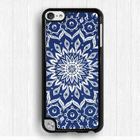 mandala Ipod touch 4 case,blue flower iPod touch 5 case,geometrical flower IPod 5 case, fabric print Ipod 4 case,touch 4 case,touch 5 case