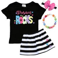Preschool Rocks Outfit Stars Black Stripe Top And Skirt