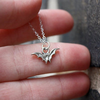 Vampire Bat Necklace . Simple . Sterling Silver Bat Charm . Vampires . Hand-Stamped Gift Box Included
